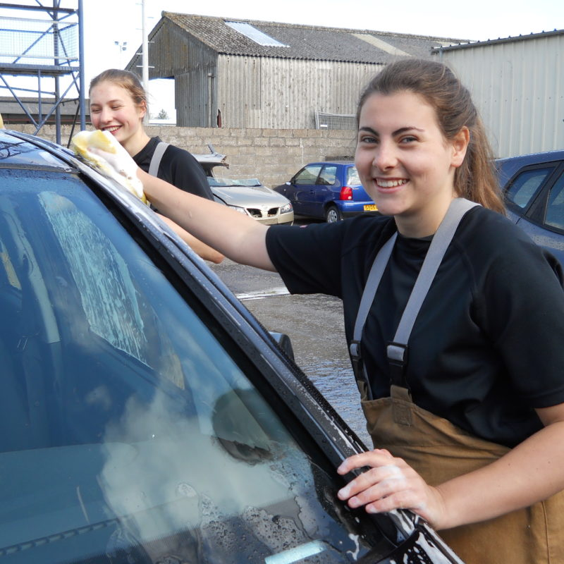 Gordonstoun Students Cleaning Car